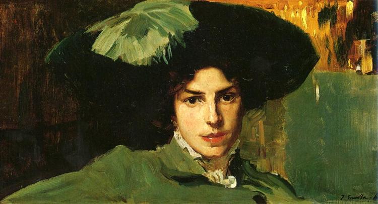Maria with hat, 1910 - Хоакін Соролья