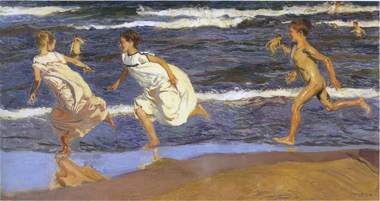 Running along the beach, 1908 - Joaquín Sorolla