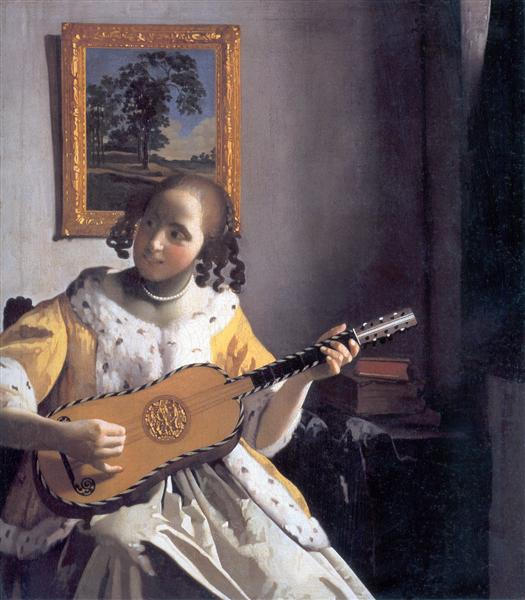 Youg woman playing a guitar, c.1670 - c.1672 - Johannes Vermeer