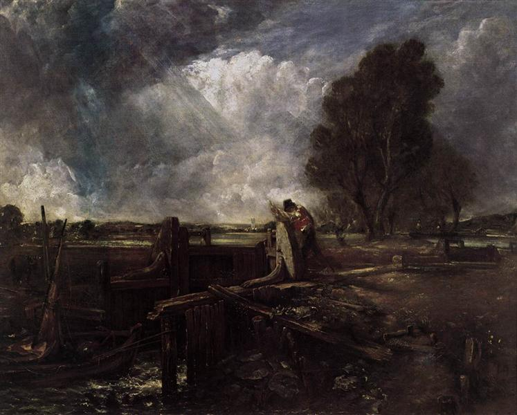 A Boat at the Sluice - John Constable