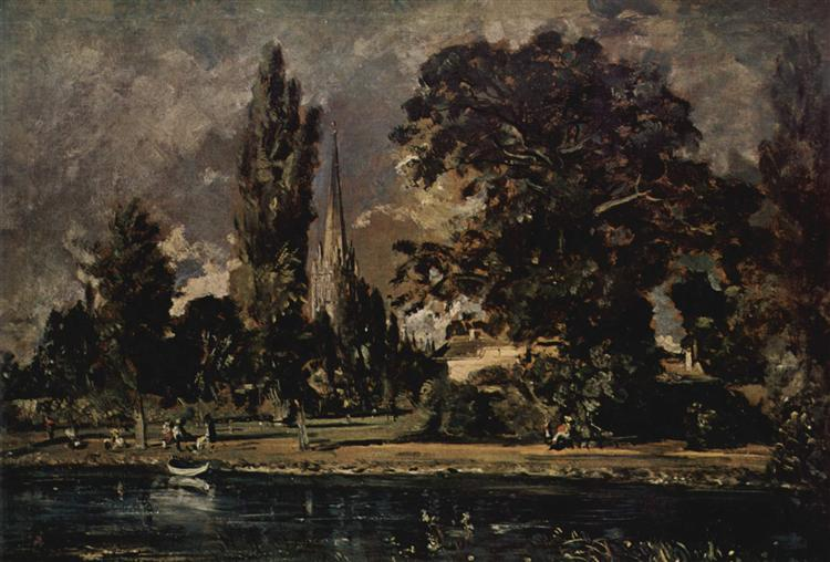 The view of Salisbury Cathedral from the river, with the house of the Archdeacon Fischer, 1820 - John Constable
