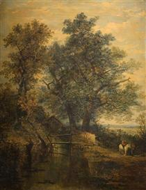 A Stream, Bridge, Trees and Two Figures in a Landscape - Джон Кром