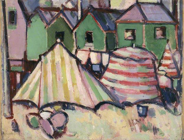 Bathing Boxes and Tents at St Palais, 1910 - John Duncan Fergusson