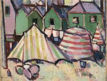 Bathing Boxes and Tents at St Palais - John Duncan Fergusson