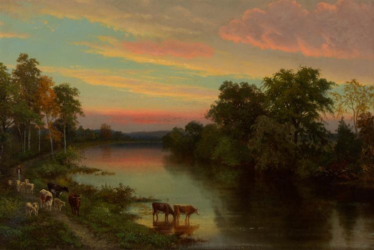 Sunset with Cows, 1856 - John Frederick Kensett