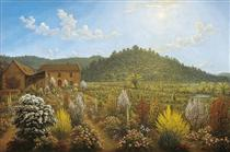 A view of the artist's house and garden, in Mills Plains, Van Diemen's Land - Джон Гловер