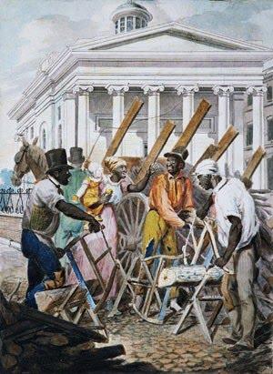 Black Sawyers Working in Front ot the Bank of Pennsylvania, Philadelphia - John Lewis Krimmel