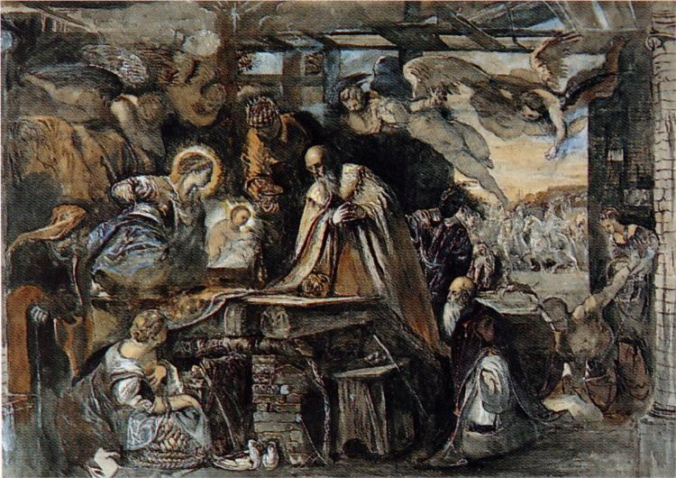 Study from Tintoretto's Adoration of the Magi, 1852 - John Ruskin