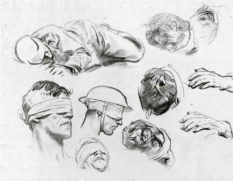 Heads, Hands, and Figure (also known as Studies for Gassed), 1918 - John Singer Sargent