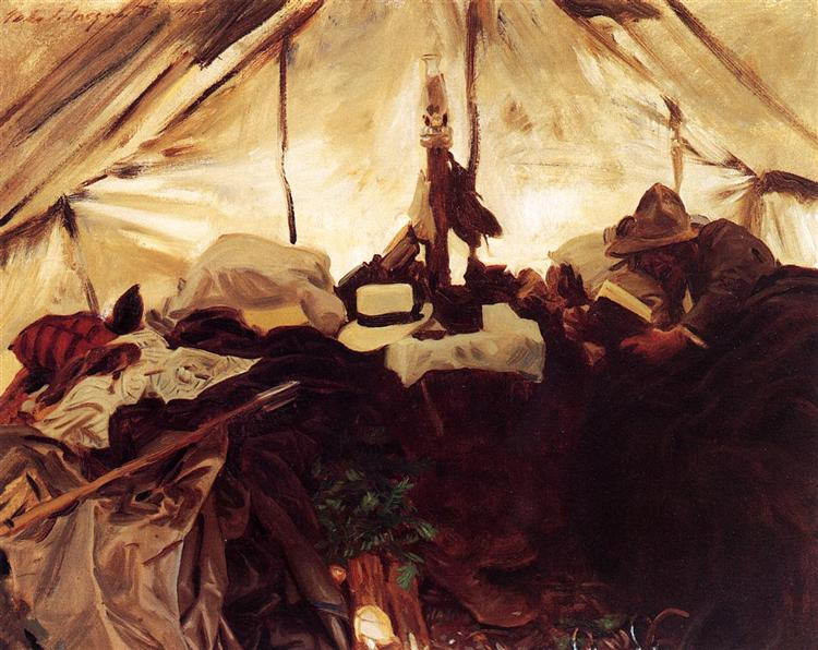 Inside a Tent in the Canadian Rockies, 1916 - John Singer Sargent