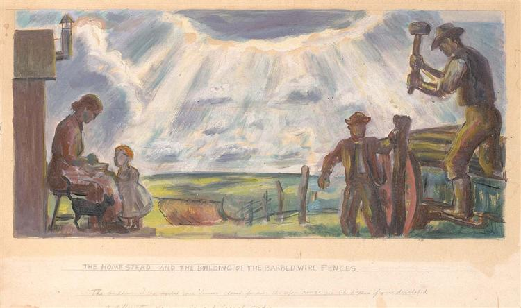 The Homestead and the Building of the Barbed Wire Fences, 1943 - John Steuart Curry