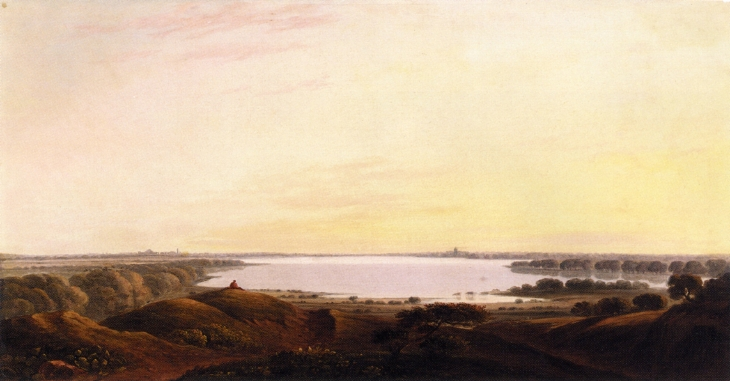 An Extensive River Landscape on the Thames - Джон Варли