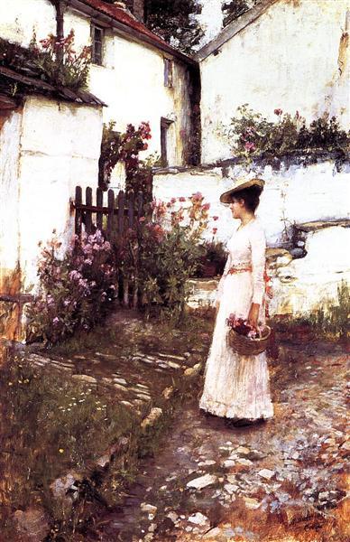 Gathering Summer Flowers in a Devonshire Garden, c.1893 - John William Waterhouse