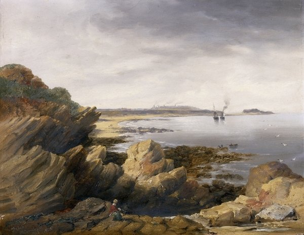 St. Mary's Island from Whitley Rocks, 1845