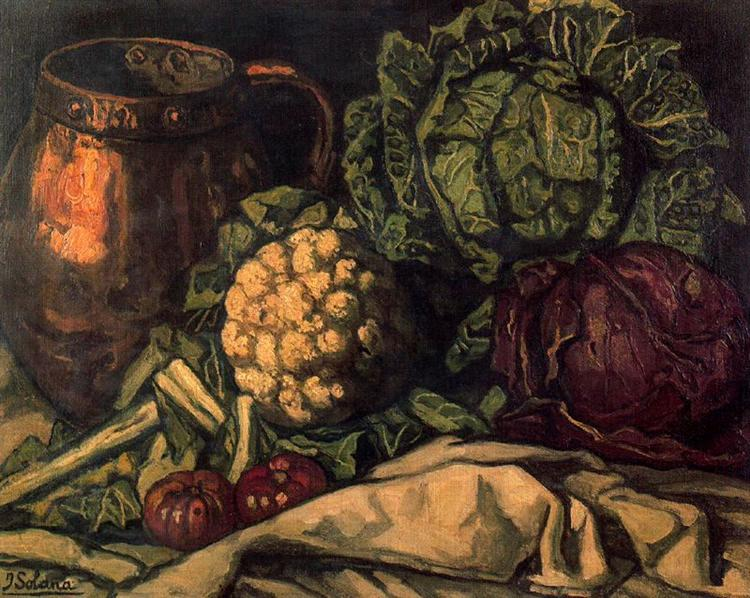 Still life with Red Cabbage, Copper, Cauliflower and Cabbage, 1921 - Хосе Гутьеррес Солана
