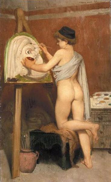 Boy Painting a Tragic Mask, 1863 - Jules Joseph Lefebvre