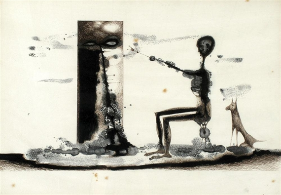 Figure with a dog, 1964 - Jules Perahim