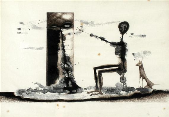 Figure with a dog, 1964 - Жюль Перахім
