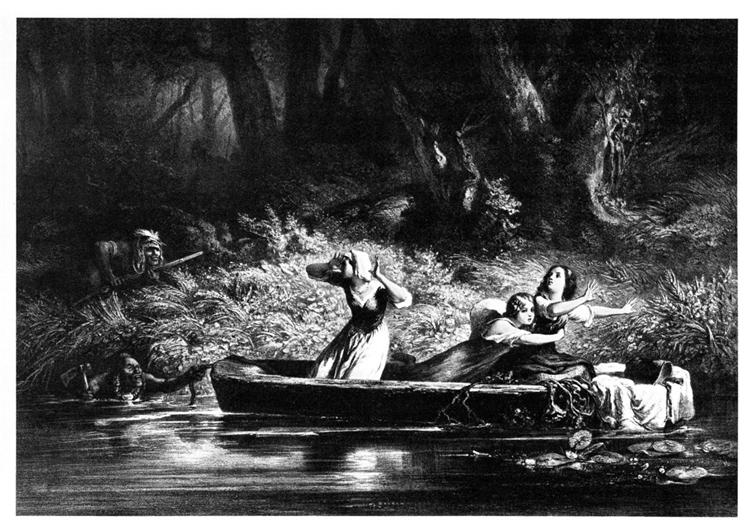Capture of the Daughters of D. Boone and Callaway by the Indians, 1852 - Karl Bodmer