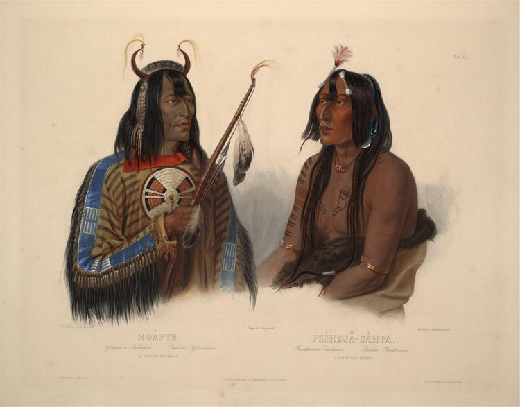 Noapeh, an Assiniboin Indian and Psihdja-Sahpa, a Yanktonan Indian, plate 12 from Volume 2 of 'Travels in the Interior of North America', 1844 - Karl Bodmer