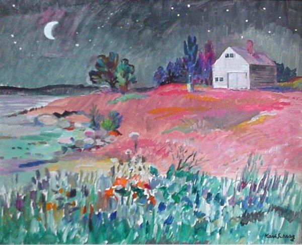 Barn Studio in Moonlight - Karl Schrag