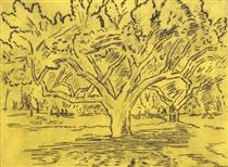 Big Tree and Distant Figures - Karl Schrag