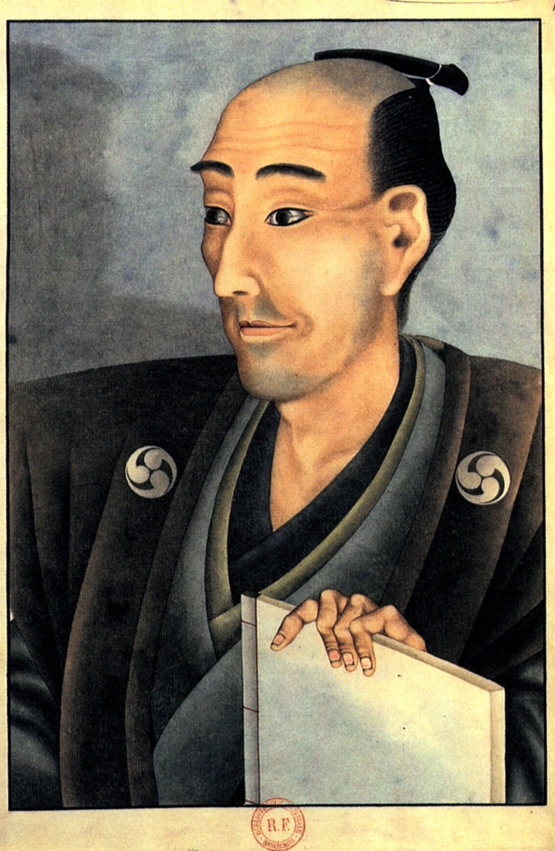 Portrait Of A Man Of Noble Birth With A Book Katsushika