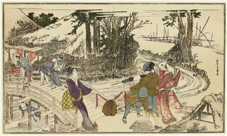 Womenwalking inagarden, 1798 - Katsushika Hokusai