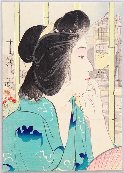 Evening at Hot Spring, 1912 - Kiyokata Kaburagi