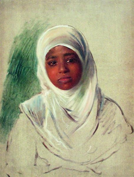 Girl in Burnous, c.1870 - Konstantin Makovsky