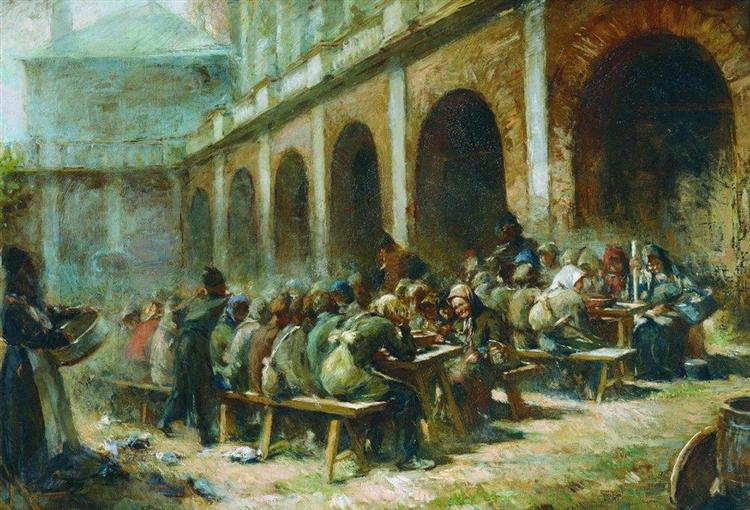 Meal of pilgrims in the Trinity Lavra of St. Sergius - Konstantin Makovsky