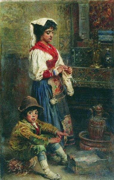 Models waiting for Artist (basking Italians), 1904 - Konstantin Makovsky