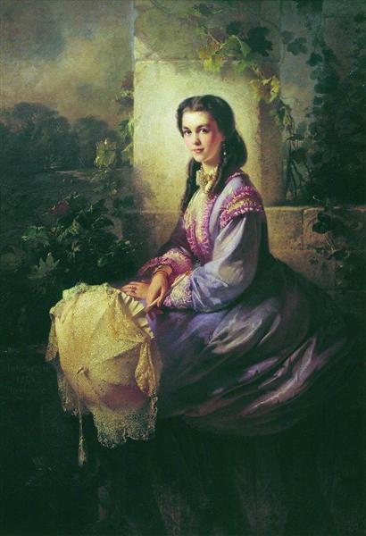 Portrait of Princess S.Stroganova, 1864 - Konstantin Makovsky