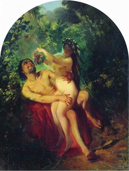 Satyr and Nymph, 1863 - 康斯坦丁·马科夫斯基