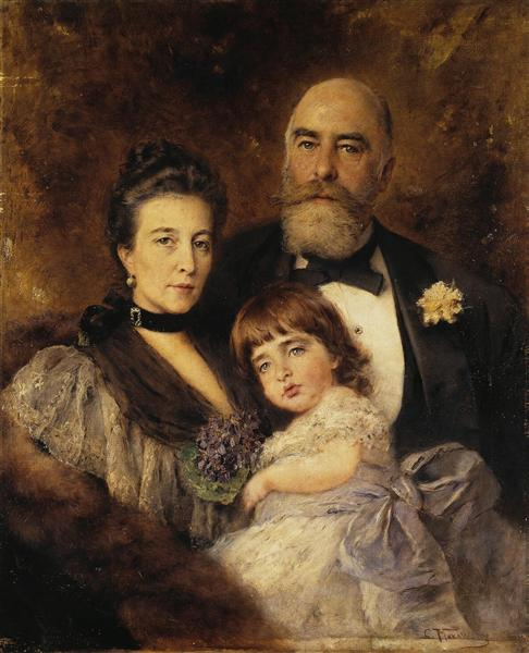Volkov's Family. Group Portrait of M.S.Volkov, S.N.Volkova and S.M.Volkov-Manzei, c.1890 - Konstantin Makovsky