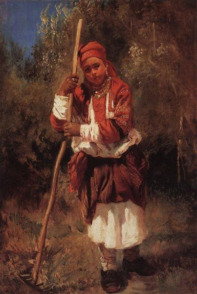 Woman with Rake, c.1870 - Konstantin Makovsky