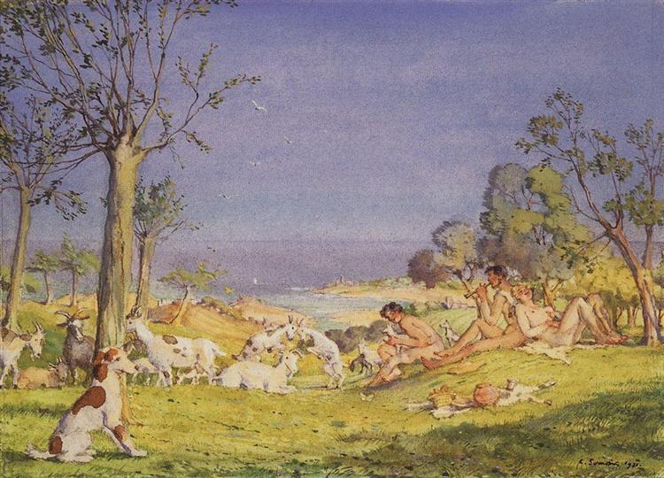 Illustration to the novel Daphnis and Chloe 1, 1930 - Konstantin Somov