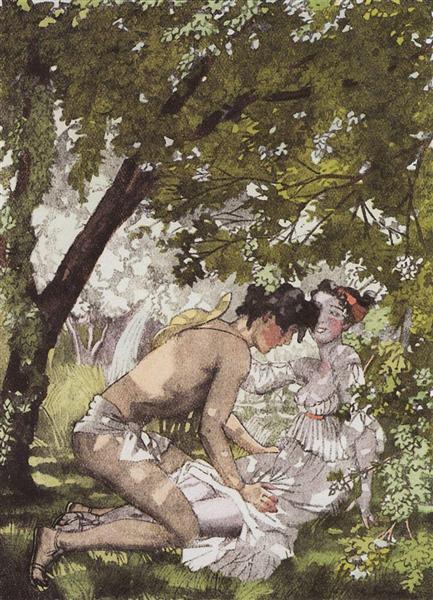 Illustration to the novel Daphnis and Chloe 2, 1930 - Konstantin Somov