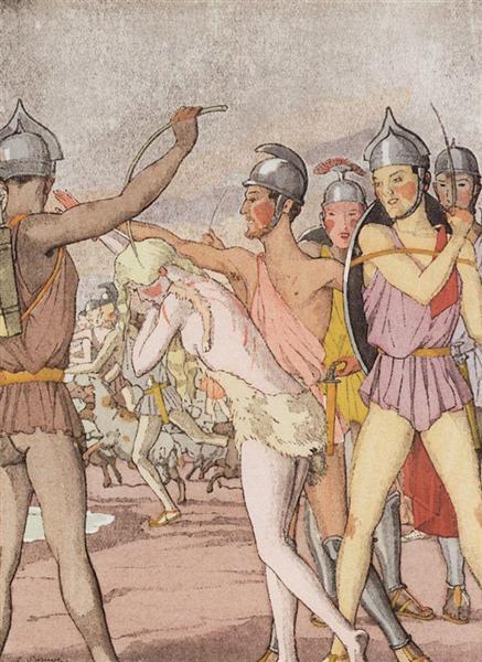 Illustration to the novel Daphnis and Chloe 3, 1930 - Konstantin Somov