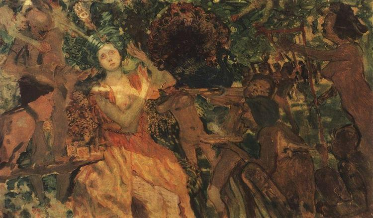 Ludmila in the Chernomors garden. Based on the story of Alexander Pushkin's poem 'Ruslan and Ludmila', 1897 - Constantin Somov
