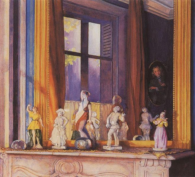 Porcelain Figurines on a Stone Shelf, 1930 - Костянтин Сомов