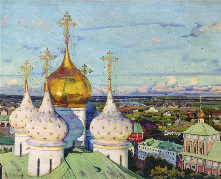 Domes and swallows. Assumption Cathedral of the Trinity Sergius Lavra, 1921 - Konstantin Yuon