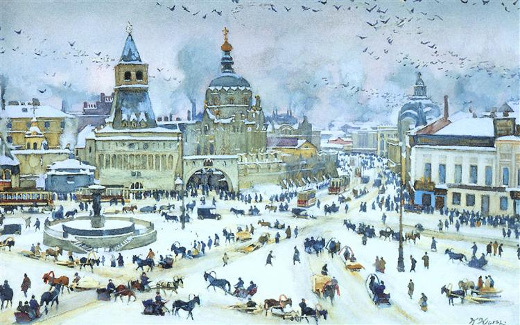 The Lubyanskaya Square in Winter, 1905 - Костянтин Юон