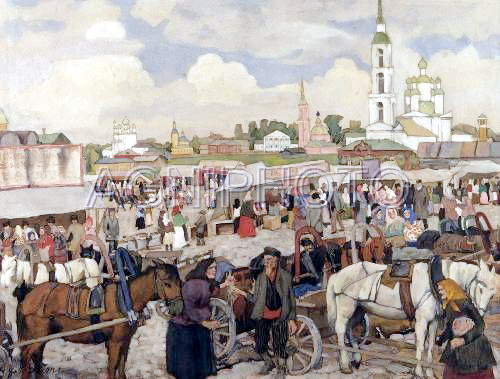 The Market in Uglich - Konstantin Yuon