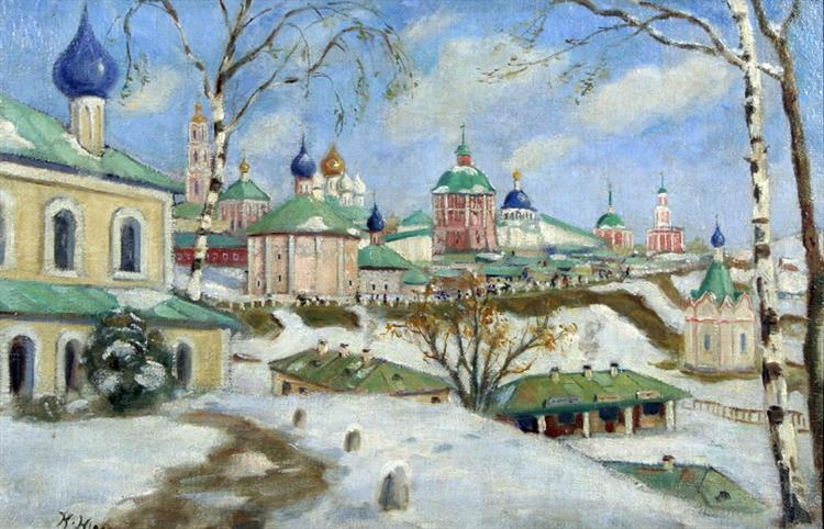 The procession on the slopes - Konstantin Yuon
