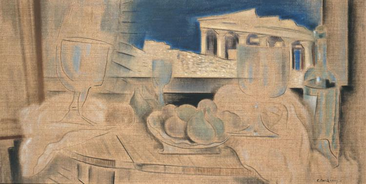 Still Life with Acropolis in the Background, c.1931 - Konstantinos Parthenis