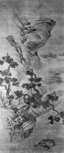 Landscape with a Precipitous River-bank with Gnarled Pines and Three Men - Lan Ying