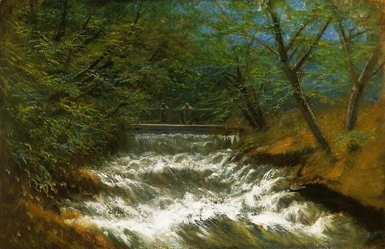 Burring Brook with Bridge - Laszlo Mednyanszky