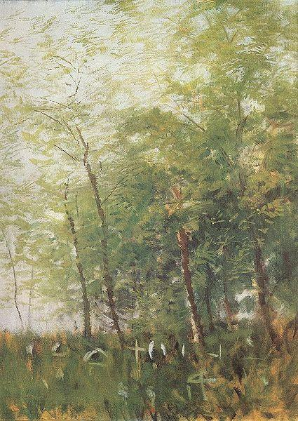 Edge of a Forest with Crosses, 1918 - Laszlo Mednyanszky