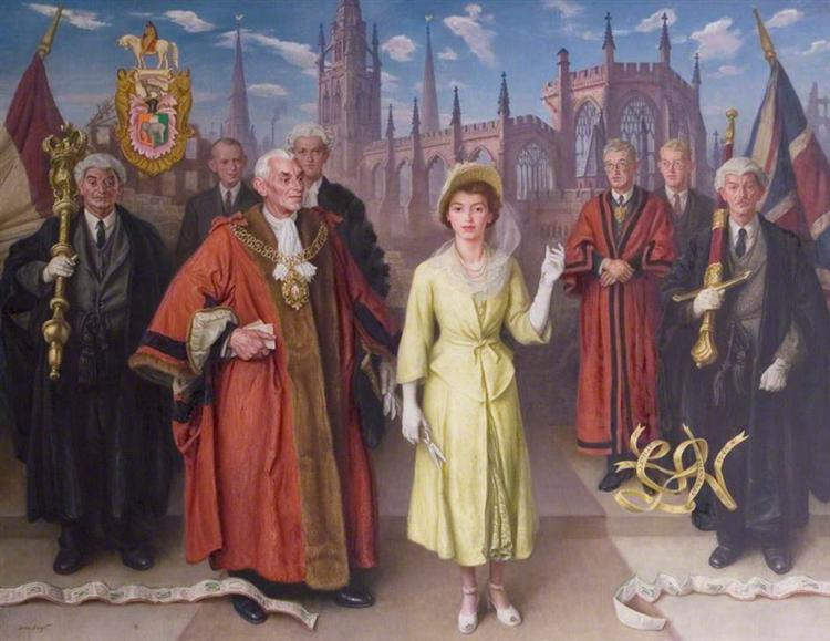 Princess Elizabeth Opening the New Broadgate, Coventry, 1948 - Laura Knight